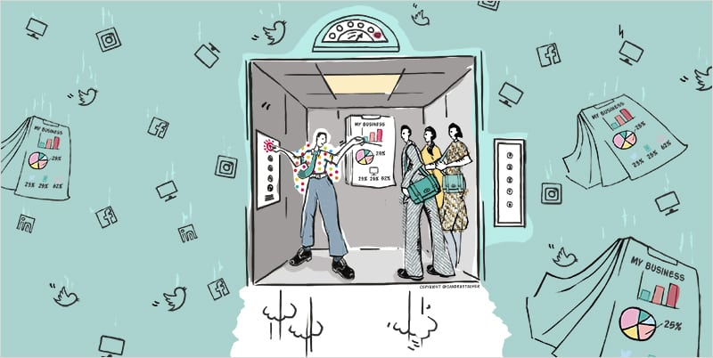 Illustration by #sandrastaufer for Heads-up Coaching: 'Elevate your Elevator Pitch'