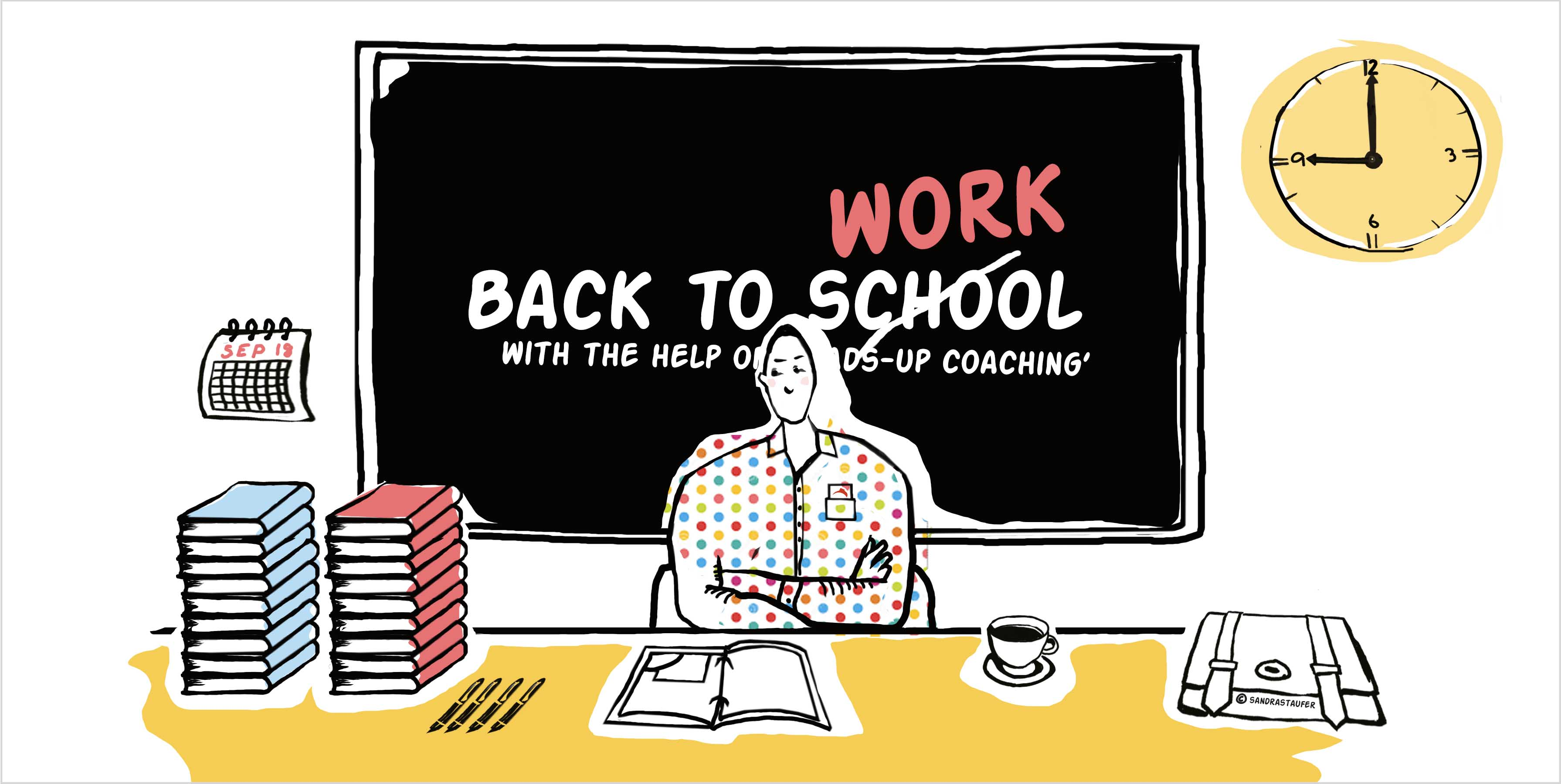 Illustration by #sandrastaufer for Heads-up Coaching: 'Time Management'