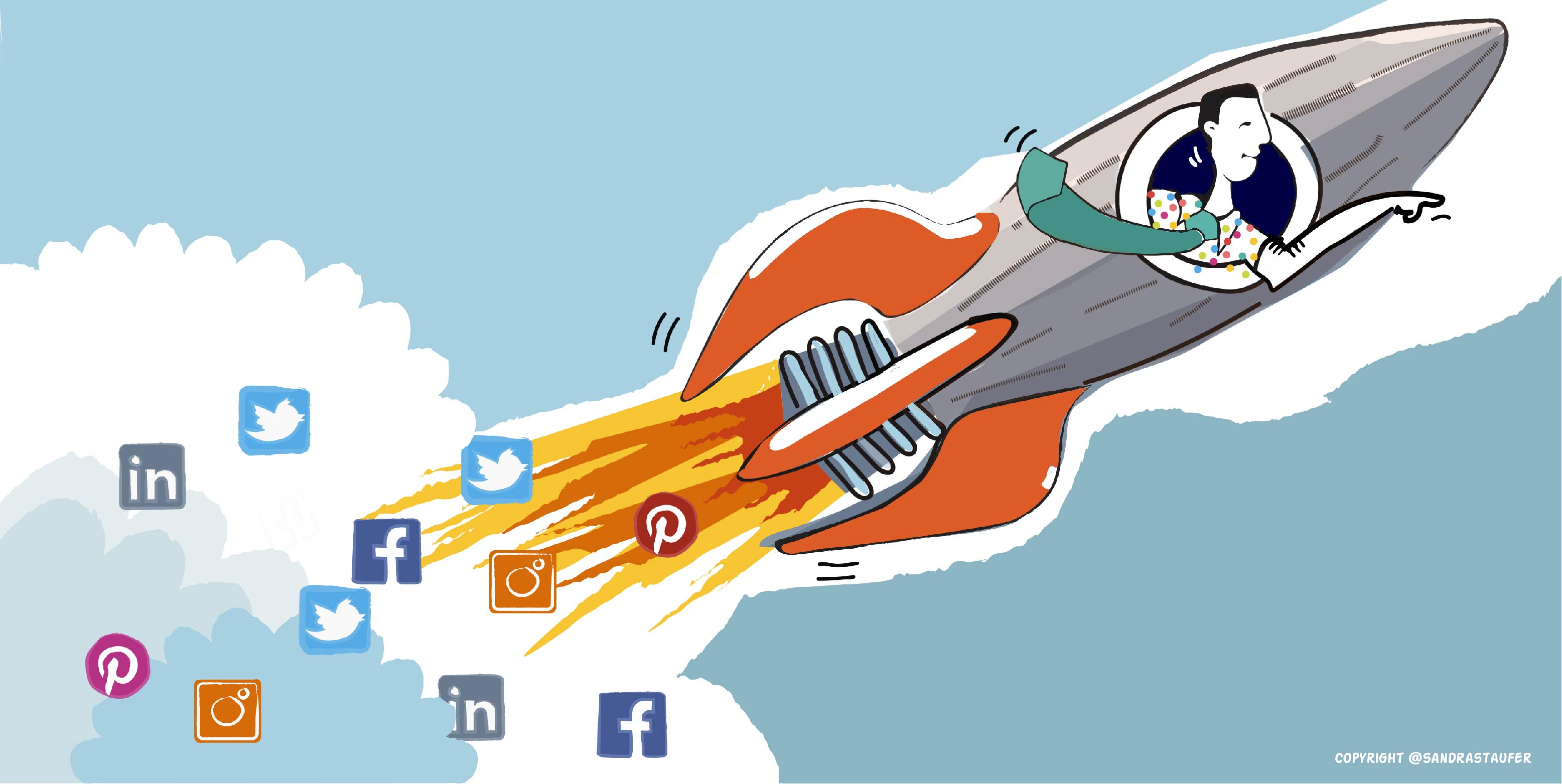 Illustration by #sandrastaufer for a Networking & Coaching Event by Heads-up Coaching: 'Boost your business through social media'