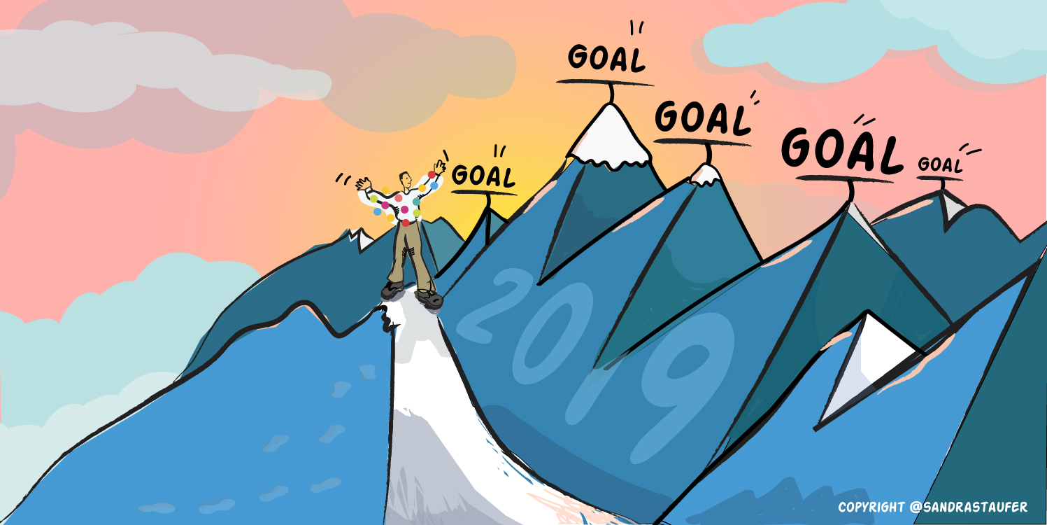 Illustration by #sandrastaufer for a Networking & Coaching Event by Heads-up Coaching: 'Goal Setting in Your Business'